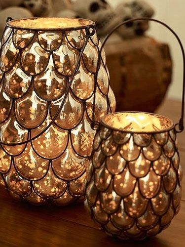 Blogger Melissa from The Happier Homemaker made a hurricane lantern out of plastic spoons and metallic paint, for a homemade version of a Pottery Barn favorite. Get the tutorial. RELATED: 50 Great Ways to Use Mason Jars   - CountryLiving.com