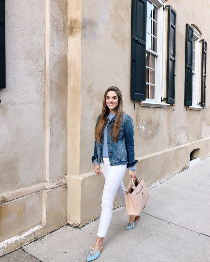 Gal Meets Glam Daily Look 2-5-18 Frame Denim jacket, Rachel Comey sweater, Everlane jeans, Malone Souliers slides, Chanel bag