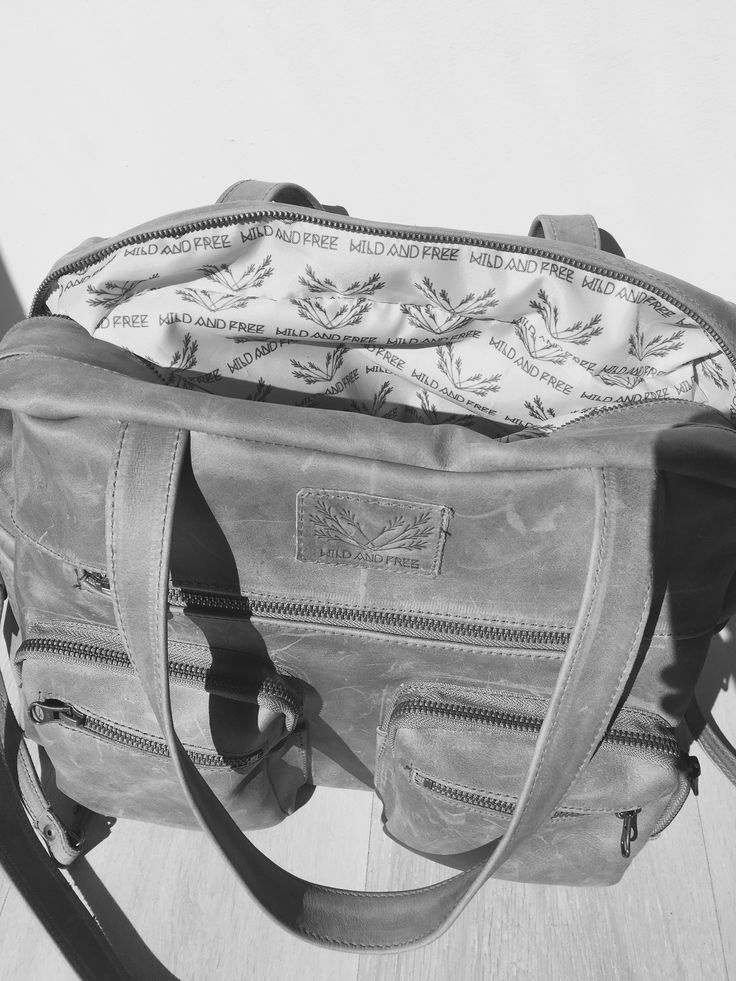 Wax Grey Wild and Free Genuine Leather Diaper Bag.