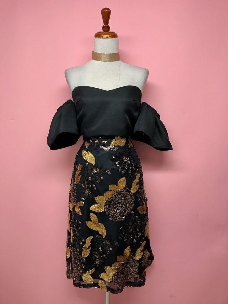 Falda midi negra lentejuelas doradas - OH MY! STORE