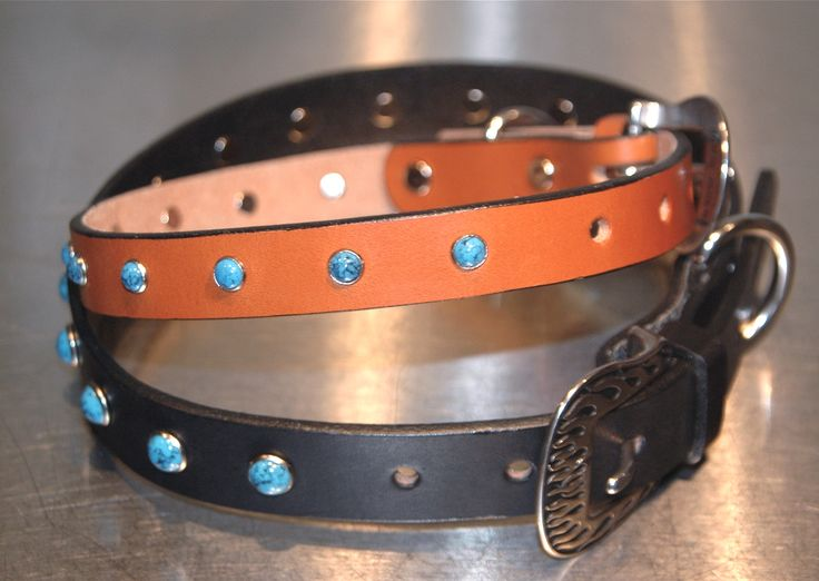 Sparkling turquoise rivets, Jeremiah Watt stainless steel floral Horseshoe buckle with painted inlay highlighting our fine English Bridle leather.  $64.95 from Woofwerks.com