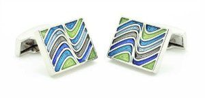Chelsea Jewelry Basic Collections Opal Color Wavy Design Cufflinks