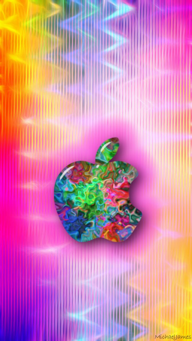 Download Colorful Squiggley Swirl Apple 640 x 1136 Wallpapers - 4430784 - Pink Apple iPhone Abstract | mobile9
