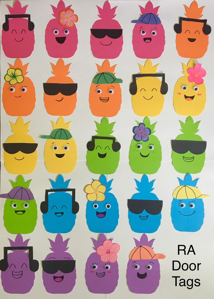 My pineapple people door tags! the die cut pineapples were from Michael's. #pineapple #people #door #tags #RA #college