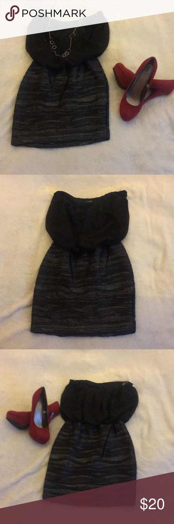 NWT!! Wet Seal black and metallic mini dress!! New With Tags Wet Seal black and metallic mini strapless dress! Great for a night out! Perfect addition to your Vegas outfits! Add some colored heals and a fun necklace and you will turn heads! Wet Seal Dresses Mini