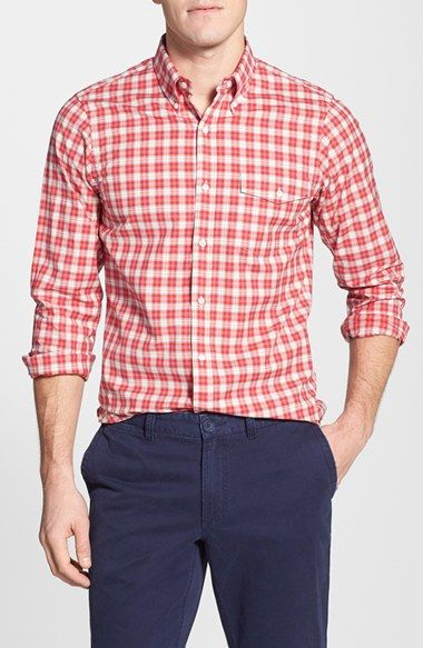 J. Press York Street Trim Fit Check Sport Shirt available at #Nordstrom