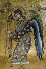 How to Recognize Archangel Raphael: An image of the angel Raphael on a 12th-century mosaic from the Santa Maria dell'Ammiraglio church in Palermo, Sicily