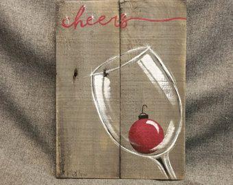 Rosso bianco vino pittura Pallet parete Art di TheWhiteBirchStudio