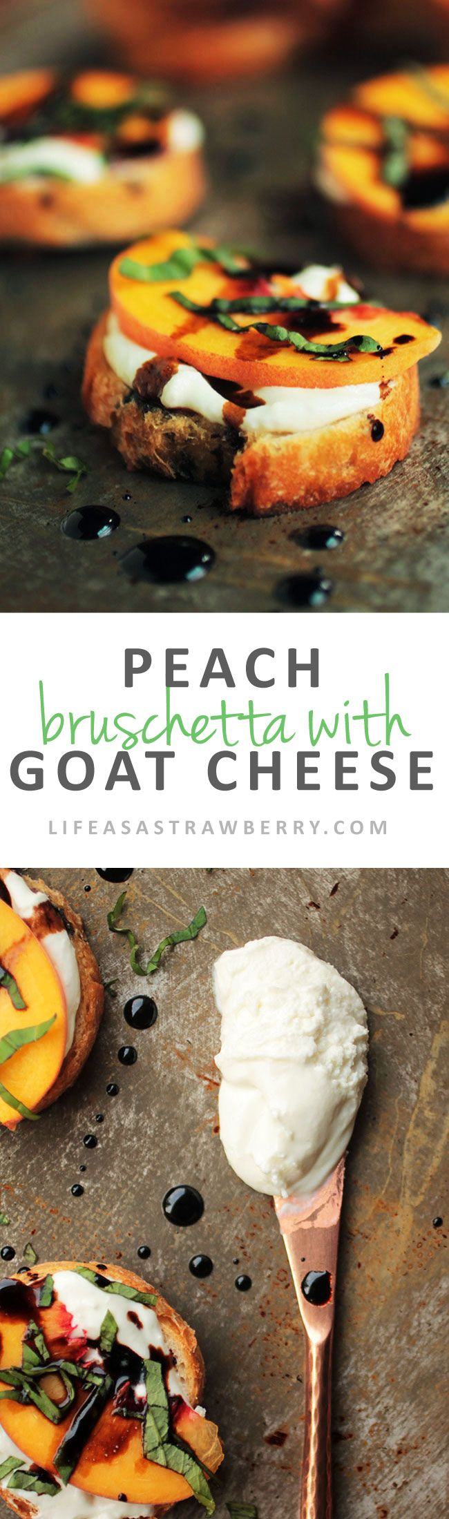 Peach Bruschetta with Whipped Goat Cheese - This easy crostini appetizer has a delicious whipped goat cheese base, topped with fresh peaches, balsamic vinegar drizzle, and fresh basil. Perfect for entertaining or as a light dinner! Vegetarian.