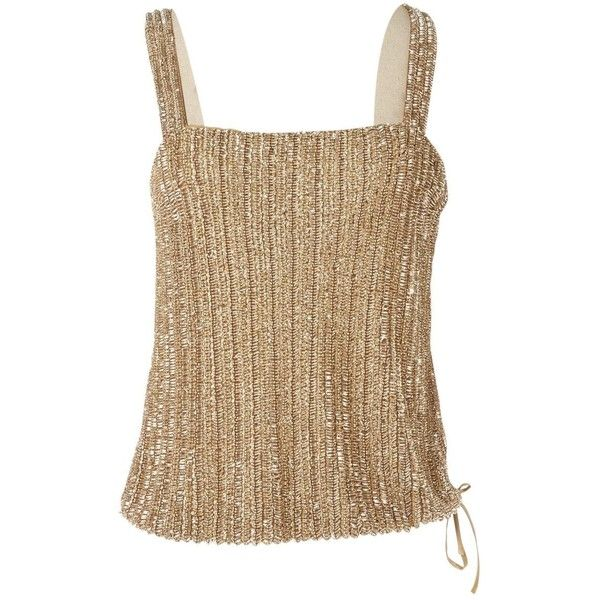 Pre-owned Ralph Lauren Camisole ($215) found on Polyvore featuring women's fashion, gold, women clothing tops, beaded cami, brown cami, brown camisole, ralph lauren and strappy cami