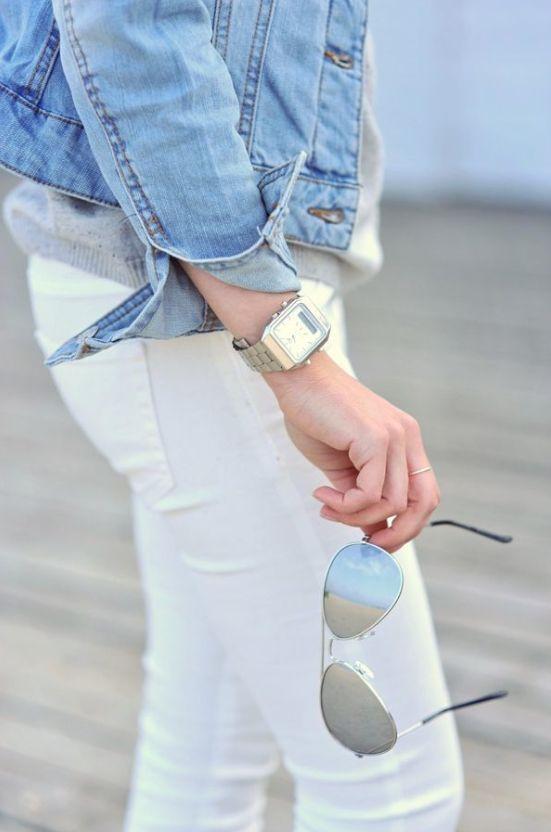 white jeans + jean jacket.classic tank watch & aviators