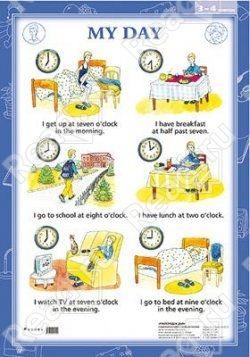 Наглядные пособия. Английский язык. 3-4 классы: Распорядок дня. My Day