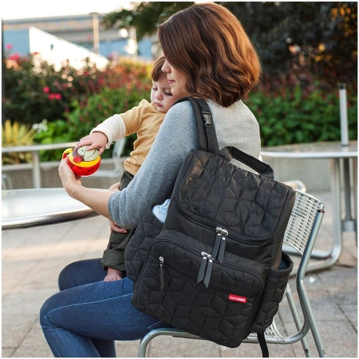 The Ultimate Hands-free Diaper Bag! Introducing the newest member of the Skip*Hop Forma collection–the Forma Backpack. With the same lightweight fabric and stylish quilted detailing, this backpack offers the convenience ofhands-free parenting on the go. Features:  Front section allows easy access to storage cubes Insulated cube is perfect for bottles Multi-purpose mesh bag for clothing and snacks Changing pad pocket holds tablets and laptops up to 15