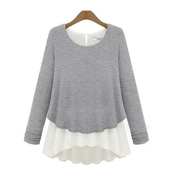 Chiffon Splicing Fake Two Piece Light Grey Top ($16) ❤ liked on Polyvore featuring tops, shirts, grey, long sleeve collared shirt, grey shirt, gray top, light gray shirt and long sleeve tops