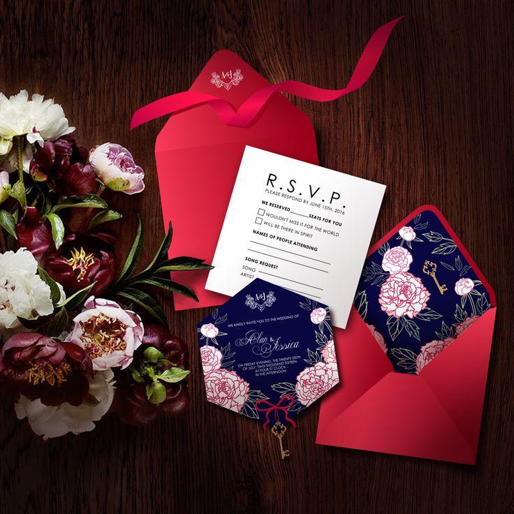 Wedding invitation with peonies.