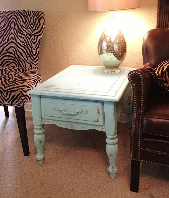 SHABBY CHIC End Table Duck Egg Blue Chalk Paint Distressed Living Room Side