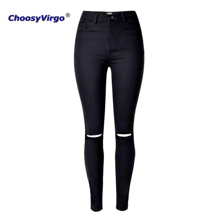 ChoosyVirgo Nouveau design Élasticité Crayon Pantalon Trous noir Skinny Jeans Femme Taille Plus Déchiré pantalon Femme Denim Stretch Pantalon dans Jeans de Femmes de Vêtements et Accessoires sur AliExpress.com | Alibaba Group