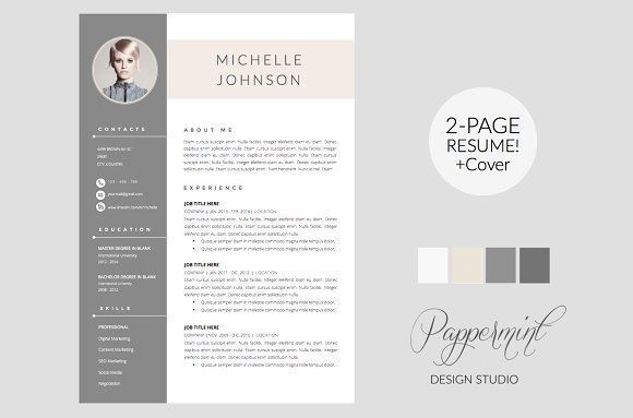 Resume Template + Cover Letter WORD by PAPPERMINT on @creativemarket Ready for Print Resume template examples creative design and great covers, perfect in modern and stylish corporate business. Modern, simple, clean, minimal and feminine layout inspiration to grab some ideas.