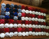 Patriotic, Flag tablerunner, red white and blue mini quilt for your table decoration, fabric yoyos
