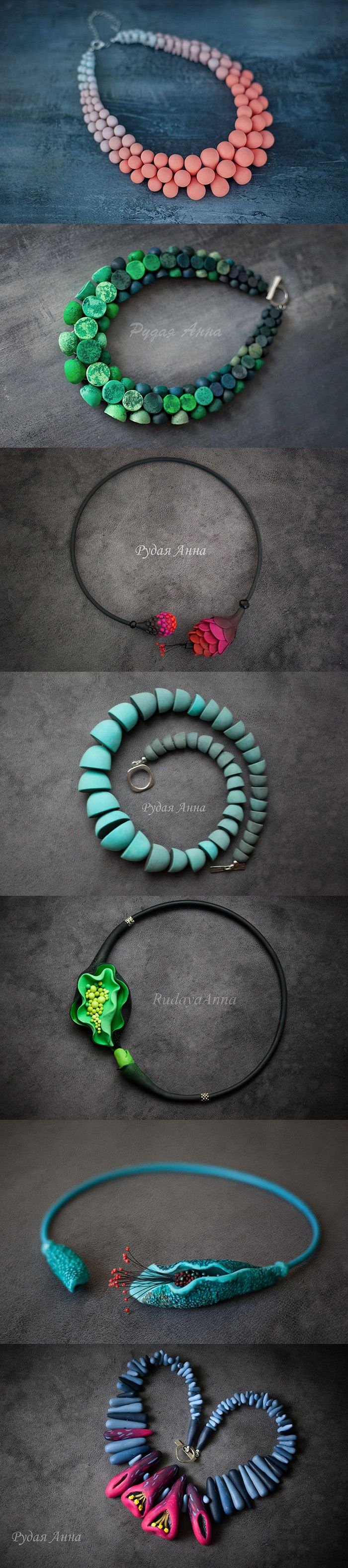Splendid polymer clay necklaces by Anna Rudaya