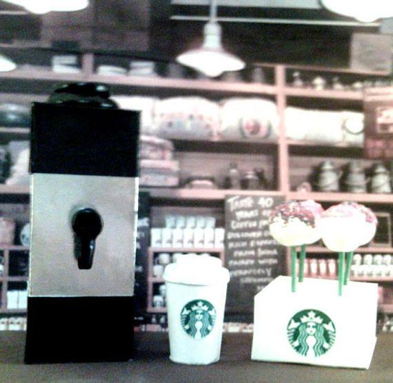 American Girl Sized Starbucks Coffee Maker & Cake Pop Set