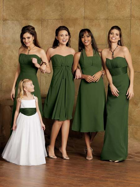 Each bridesmaid should have their own unique dress that flatters their body shape ... this way, if they want to wear it again, they know there aren't four other bitches out there with the same dress that might be at the same event.