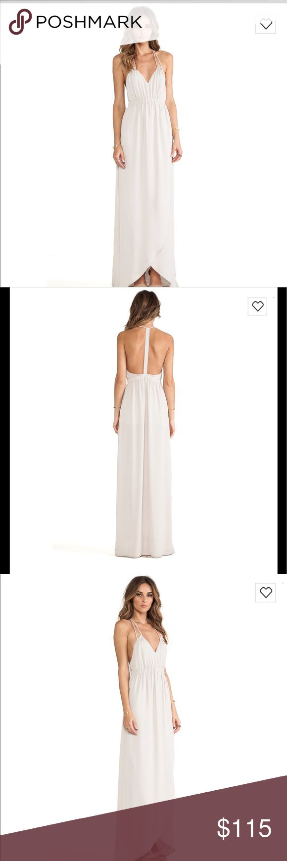 "Donna Mizani Tulip Maxi dress chiffon gown Details - V-neck - Sleeveless - Double halter straps with ruffles - T-back - Elasticized waist - Draped skirt - Lined skirt - Approx.  56"" length - Made in USA  ❤️Brand new with tag . No flaw or alteration . True white . donna mizani Dresses"