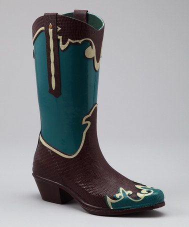 It's a rain boot people!!!!  Take a look at this Turquoise Calico Cowboy Rain Boot by däv on #zulily today!