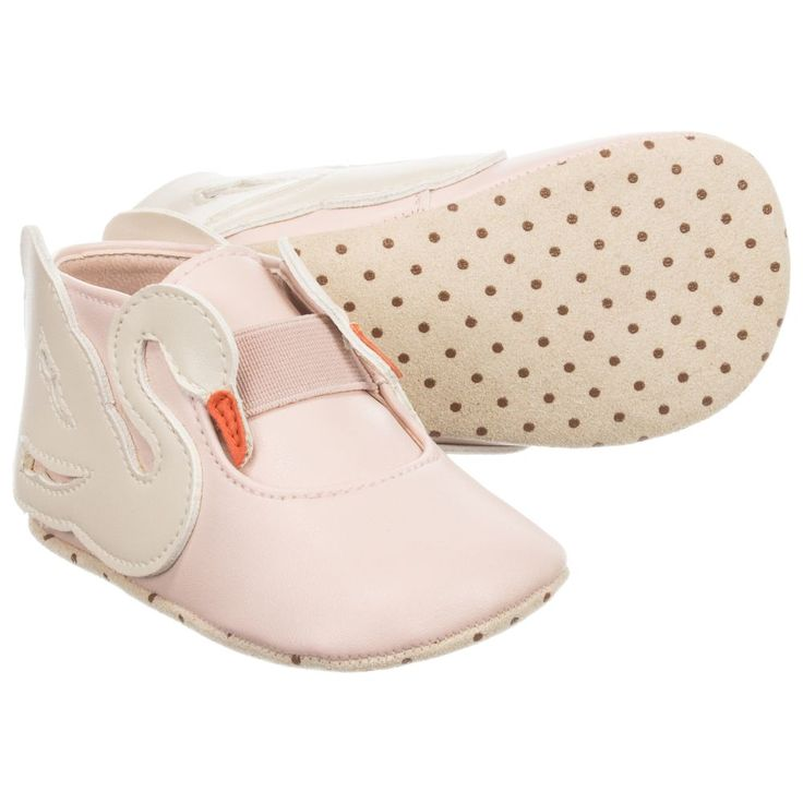 "An adorable swan motif decorates pink ""Sally"" Stella McCartney shoes for baby girls! The light, supple feel of the pre-walker shoe offers flexibility and comfort for delicate toes, the elasticated strap helps keep the shoes on little feet. A perfect gift to greet new arrivals with."