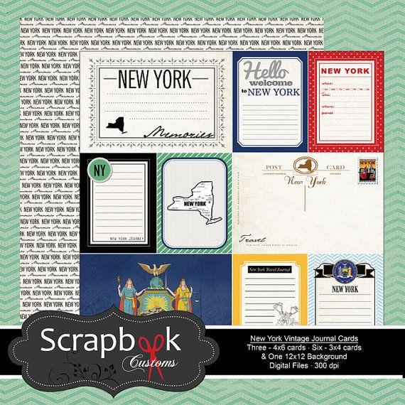 New York Vintage Journal Karten. Digital Scrapbooking. Projekt Leben. Sofort-Download. on Etsy, 1,13€