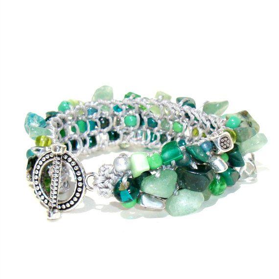 Emerald Green Wedding Party Jewelry ooak hand knit by lapisbeach