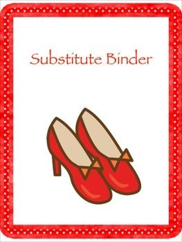 Substitute Binder Label pages: Plans, Emergency info, Schedule etc.