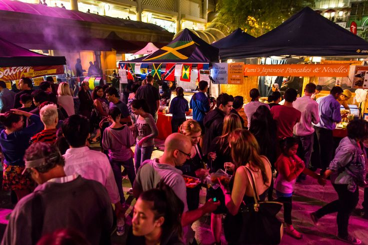 The Twilight Hawkers Markets runs every Friday night from October to April with over 40 international cuisines and live music