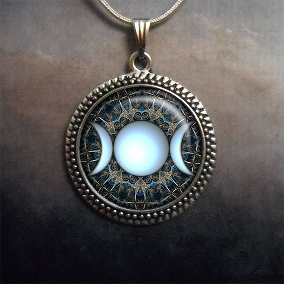 Triple Goddess pendant, moon jewelry, goddess jewelry, moon phases, Wiccan jewelry pagan