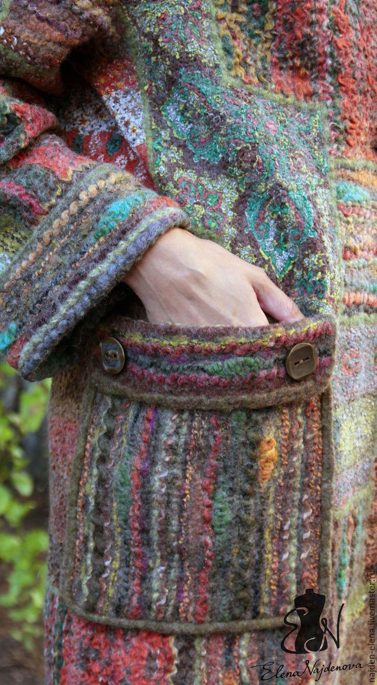 """Купить авторское валяное пальто в технике """"пэчворк """" - комбинированный, пальто, пальто из шерсти"""