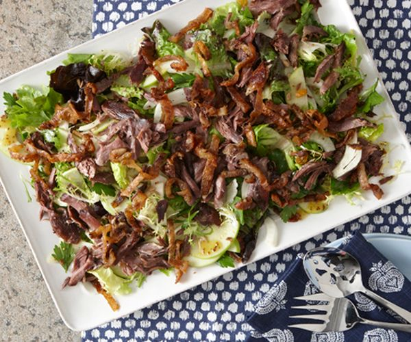 Duck Confit Salad with Raisins, Fennel, and Apple
