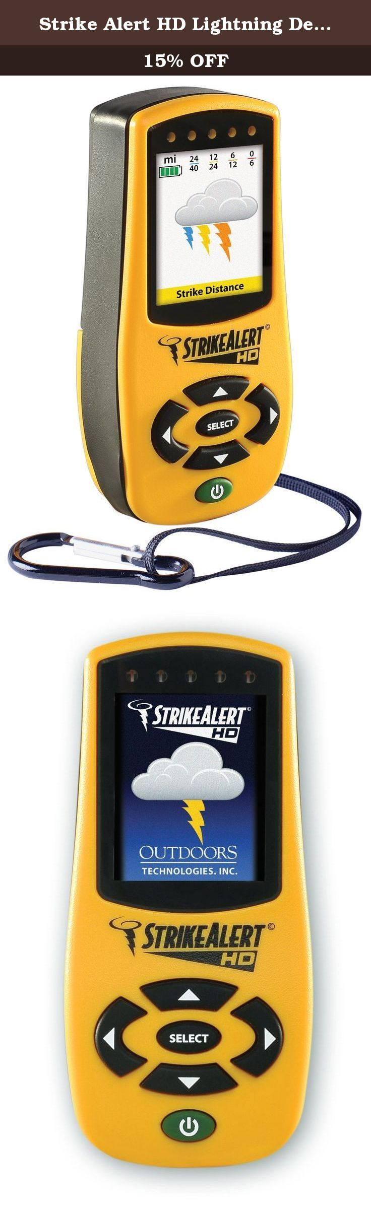 Strike Alert HD Lightning Detector, Yellow. Built on the trusted Strike Alert technology, Strike Alert HD is the first personal lightning detector with a graphical display that shows you the lightning strike distance (from 0 - 40 miles away) as well as a 1-hour storm trend and intensity. Most other personal lightning detectors offer only 180Degree tracking, but Strike Alert HD offers complete 360Degree tracking - in all directions, so there are no blind spots. You can set the unit to…
