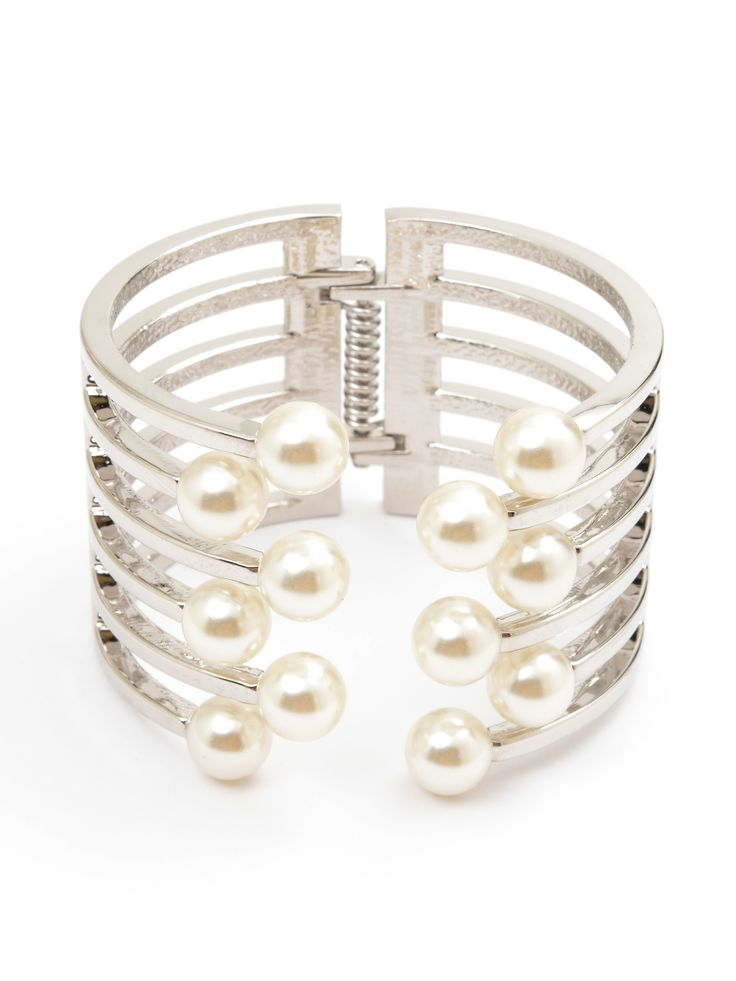 Open Pearl Party Cuff - Silver