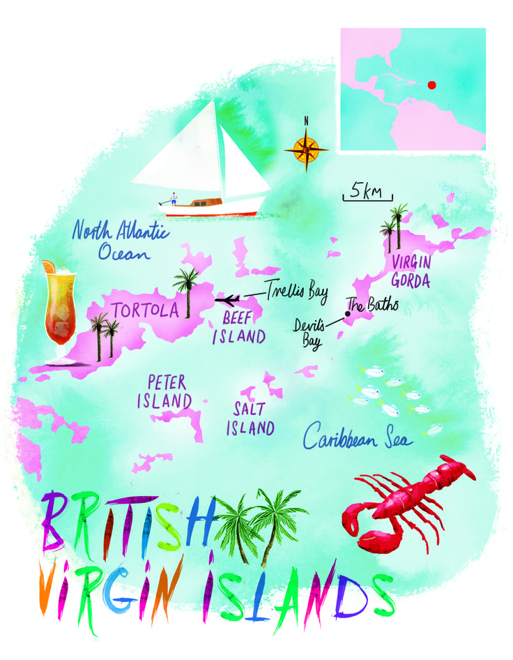 British Virgin Islands map by Scott jessop, April 2016 issue