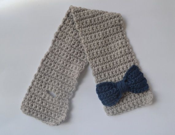 Grey and Navy Blue Girls Chunky Wool Scarf by LittleFoxCrochet