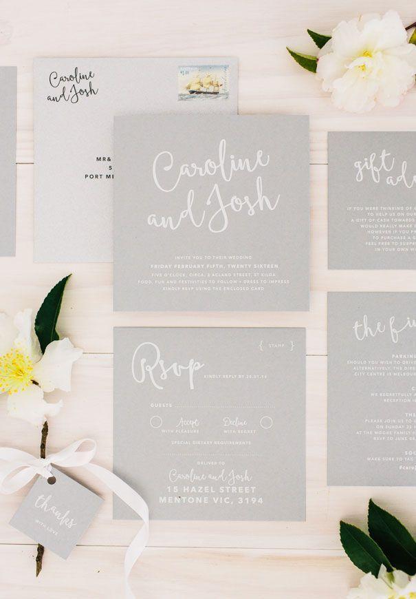 confetti daydreams wedding invitations%0A greywhiteromantichandrawnweddinginvitation