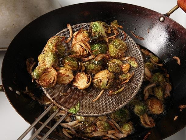 Fried Brussels Sprouts with Shallots, Honey, and Balsamic Vinegar