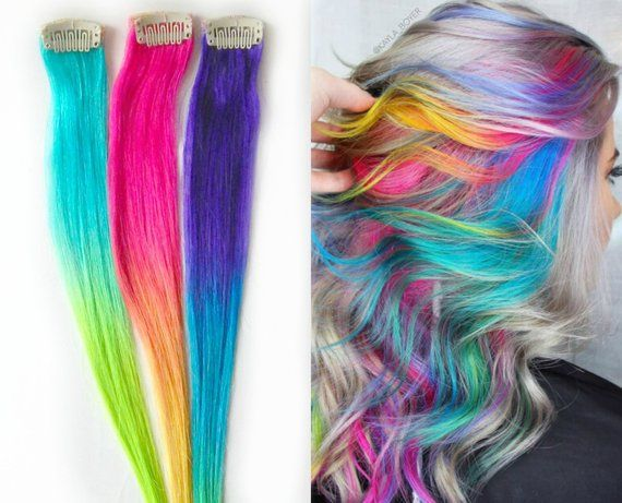 Moonstone Rainbow Hair Extensions Sand Art Hair Human Hair Extensions Ombre Neon Hair Cl Rainbow Hair Extensions Unicorn Hair Color Colored Hair Extensions