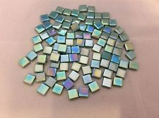 "12mm Mosaic Glass Tiles - 100 Pearlized Teal Stained glass  (approx 1/2""x1/2"")"