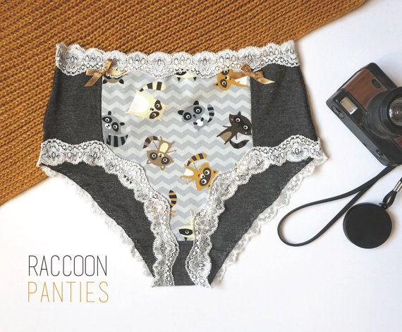 High Waisted Raccoon Panties Cute panties Lingerie by CocoonUndies