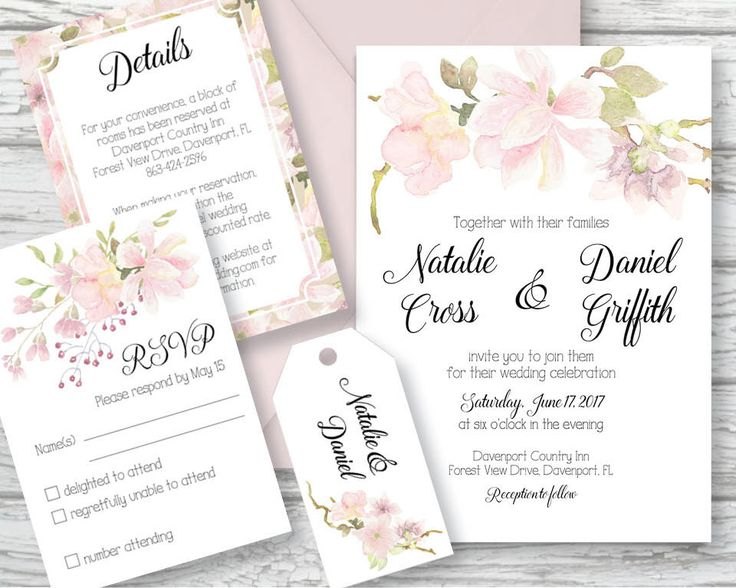 Wedding invitation set; hand painted watercolor blush Magnolias; DIY print; includes custom text; printable wedding stationery by LollysLaneShoppe on Etsy