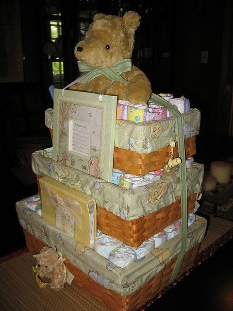 Classic Pooh Basket Diaper Cake by swaddlestar, via Flickr