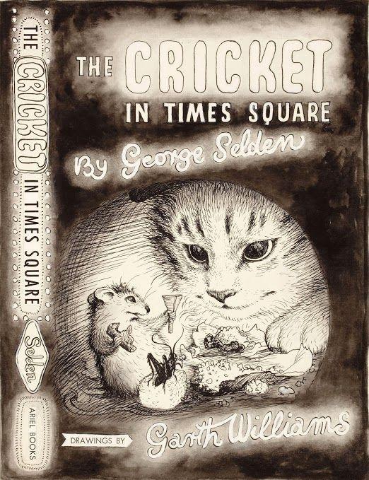 Vintage Cat Cricket in Times Square children's book illustration