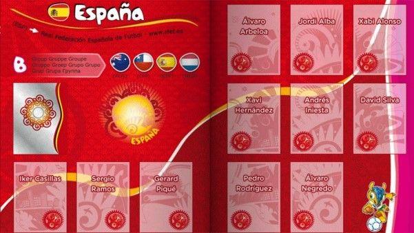 Pagina da Seleção Espanhola.
