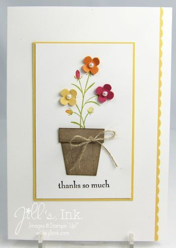 Pocket Silhouettes #StampinUp   Paper pieced flower pot and flowers from the itty bitty punches